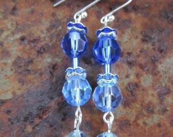 Blue Echo Swarovski Crystal Drop Earrings