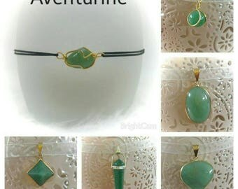 Lucky Aventurine pendant necklace and bracelet set