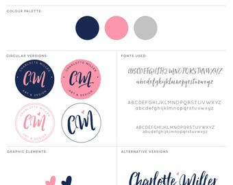 Pink and Navy Branding Package, Branding Kit, Artist Logo, Design Logo, Designer Logo, Painter Logo, Photography Logo, Makeup Artist Logo