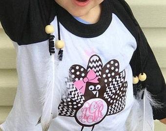 Girls Monogram Turkey Shirt, Girls Monogram Thanksgiving Raglan, Turkey Raglan for Girls, Thanksgiving Shirt for Girls, Thanksgiving Shirt