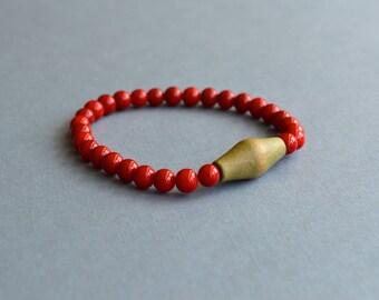 Bohemian Bracelet. Handmade Elastic Bracelet. Gift Under 15 Dollar. Red Bracelet. Wood Bracelet. Gift For Her. Bracelets. Italian Treasure.