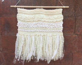 Large Tulle Ivory Woven Wall Hanging Weaving