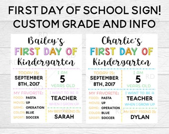 First day of school custom sign - PRINTABLE art / Custom first day of school sign / School chart / Custom first day printable / Child chart