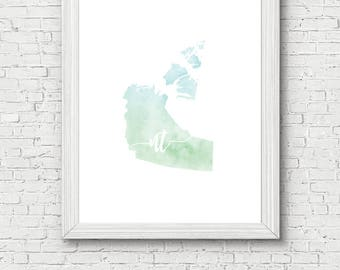 Northwest Territories Printable - digital download, dorm decor, clean and simple, watercolor, minimalist art, canada outline