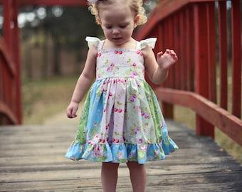 Little Girls Spring Dress - Baby Dress - Toddler Dress - Easter Dress - Floral Dress - Flutter Sleeve Dress - Birthday Dress - Pictures
