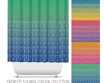 Droplets Shower Curtain. Decorative Pattern, Colorful, Bathroom Decor, Apartment Decor, Ombre Bath Decor, Boho Bath Decor, Hand Drawn Decor