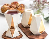 Modern Judaica gift set, Pair of Shabbat candlesticks + Kiddush cup, geometric white ceramic with 24K gold accent, Handmade in Israel
