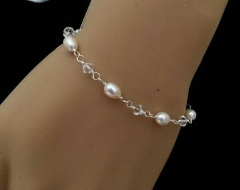 Freshwater pearl wedding bracelet with Swarovski crystals Sterling Silver rosary clear crystal &  pearl bridal jewelry bridesmaid jewellery