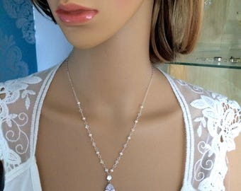 Freshwater pearl and Swarovski crystal bridal necklace Sterling Silver CZ drop necklace wire work bridal jewelry, designer wedding jewellery