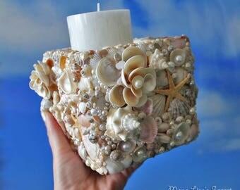 Seashell Box Candle Holder, Wooden Box Decorated with Seashells, Coastal Decor, Beach Wedding Decoration, Nautical Candle Holder