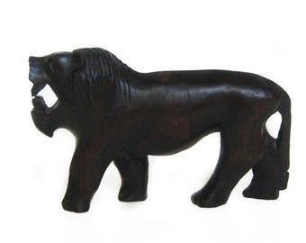 Vintage Hand Carved Wood Lion Figurine Sculpture, Wooden Lion Statue, Lion Home Decor, Safari Animal