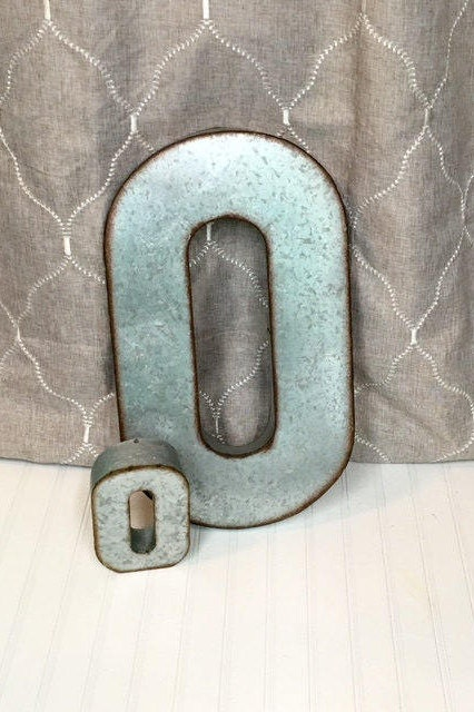 Large metal letters letter o galvanized metal wall for Giant galvanized letters