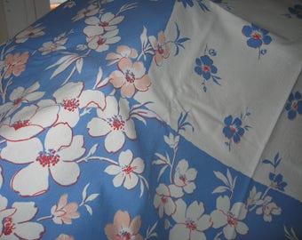 """Vintage barkcloth tablecloth 50"""" X 50"""""""