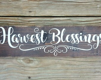 Harvest Blessings Wooden Sign, Autumn Sign, Fall Decor Sign, Fall Farmhouse Decor, Autumn Decor, Thanksgiving Sign, Rustic Fall Sign