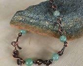 Women's link Bracelet - Size small to medium - Aventurine - Handmade Copper Metal Artisan Jewelry