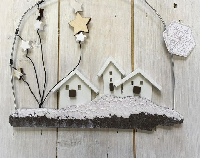 White Snowy Houses Midwinter Sass & Belle  Hanging Christmas Holiday Decoration