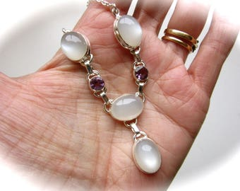Natural Ceylon Moonstone Crystal and Amethyst Silver Chain Necklace