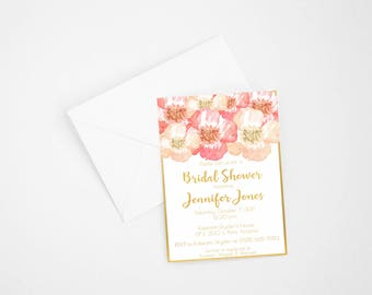 Floral Pink and Gold Bridal Shower Invitations, Bride to Be, Bridal Shower Invite, Floral Bridal Shower Invitation, Printable