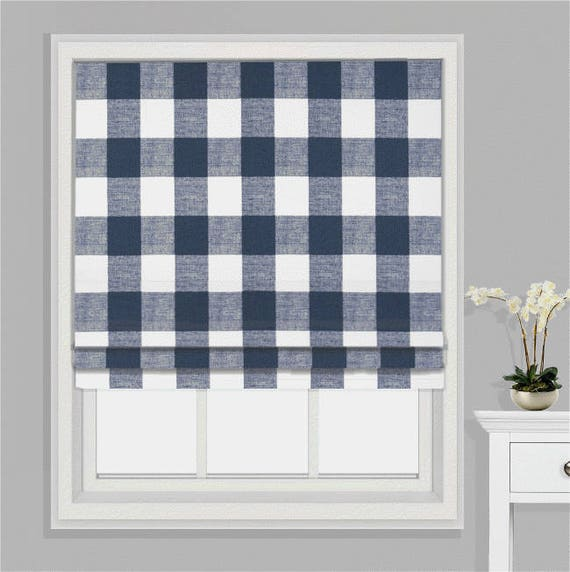 buffalo check plaid roman shade in navy blue and white free. Black Bedroom Furniture Sets. Home Design Ideas