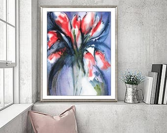 Watercolor Painting Abstract Floral 5x7 8x10 11x14 13x19 Red Flower Art, Tulip Bouquet Print,Lively Colorful Still Life, Large Medium Small