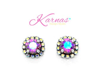FUCHSIA GLACIER 8mm Crystal AB Halo Stud Earrings Swarovski Elements *Antique Silver *Karnas Design Studio *Free Shipping*