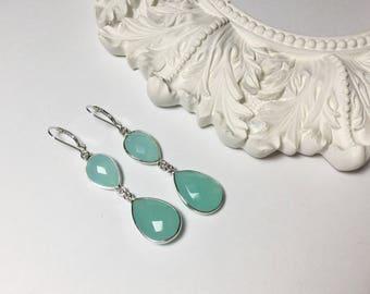 Soft Blue Chalcedony Earrings
