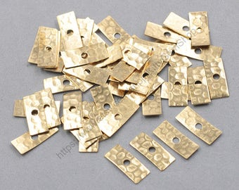 20Pcs, 16mm Raw Brass Retangle Slice Charms Pendants ZR-7482