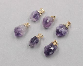 Raw Amethyst Pendants -- With Electroplated Gold Edge Charms Wholesale Supplies CQA-089