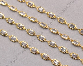 1ft, Retangle White Zircon Connector Chain With Gold Plated -- Faceted Rosary Chains Wholesale Handmade Craft Supply CQA-091