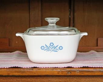 1-3/4 Qt. Blue Cornflower ~ P-1 3/4-B ~ Sauce Pan/Casserole and Lid ~ Corning Ware ~ Pyroceram ~ Corn Flower ~ 1960s-70s