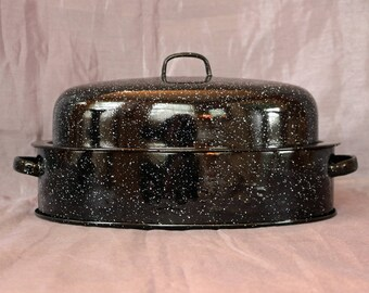 "Savory Jr. Double-Walled Graniteware/Enamelware Roast Pan/Roaster/Baking Pan & Lid ~ 1930s-40s-50s ~ 12.5"" x 8.5"" ~ Enamel Roaster and Lid"