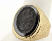 10K Yellow Gold Carved Hematite Ring