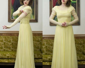 40s Yellow Dress | 40s Dress | 1940s Dress | Yellow Netted Dress | 40s Formal Dress | Unique Wedding Dress  40s Maxi Dress Yellow Maxi Dress