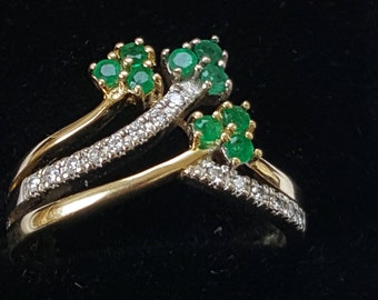 Emerald and Diamond Ring - Unusual Design - Shamrock - Clover Detail
