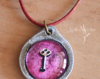 """Handmade cement collar by hand, with photo """"Worn key"""" leather cord / Cement necklace handmade, leather cord with key picture"""