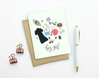 Card - Hey, Girl | Feminine Just Because Card with Illustrated Accessories, Friend Birthday Card, Fashion Blogger Card, Thank You Stationery