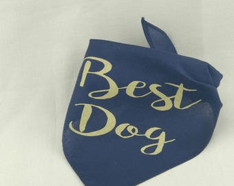 Best Dog Navy Blue and Gold Wedding Pet Bandana Gold Dog Collar for Engagement Photos Save the Date Bridal Shower