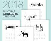 2018 Printable Hand-Lettered Calligraphy Calendar Download