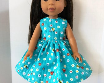 """Wellie Wishers Like 14.5 inch Doll Clothes, Blue w/Flowers, BUMBLEBEEs & Lady Bugs Dress, 14.5"""" Dolls like AG Wellie Wishers Doll Clothes"""