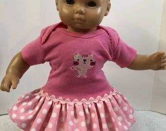 "15 inch Bitty Baby Clothes, Super Cute ""Pink KITTY CAT"" Ruffle & Trim Dress, 15 inch AG Bitty Baby Doll or Twin Dolls,Fits 16"" Cabbage Patch"