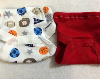 Baby Doll Diaper Covers, Panty, 15 inch AG Bitty Baby Clothes or Twin, Fits 16 inch Cabbage Patch Doll, SET of 2 for 3.00, SPORTS & Red