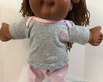 "Cabbage Patch Doll 16 inch KIDS Clothes, Cute Little ""Pink ELEPHANT"" on Top, Pink Pants, 16 inch Cabbage Patch Doll Clothes, Pink & Gray!"