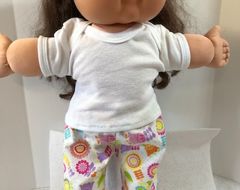 """Cabbage Patch Doll 16 inch Doll Clothes, 2-Piece Outfit,Cute """"SPARKLING Flowers"""" PAJAMA Pants & White T-shirt, 16 inch Cabbage Patch Clothes"""