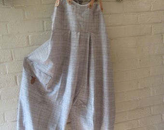 Lagenlook ,Balloon shaped  dungarees .overalls in funky check pure linen Quirky real leather braces.large pocket,size UK 16/18 or US 14/16