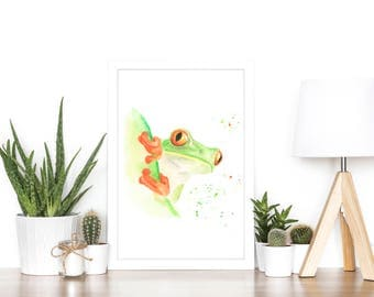 frog gifts, frog art, frog print, tree frog, tree frog art, jungle print, jungle animals, tropical print, rainforest print, frog lover gifts