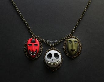 Cameo Necklace Lock, Shock and Barrel. (Nightmare Before Christmas).