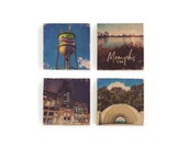 Memphis photography marble tile coaster set, with the Broad Ave water tower, Crosstown, Levitt Shell & the downtown skyline, image transfer