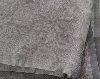 Indian Paisley Floral Sari Fabric in Taupe Gray - Fine Voile Woven Silk Blend  Damask Curtain - DIY Fashion or Home Decor 10yds / 9.2 meters