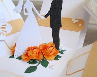 Wedding card in a box, Wedding Exploding box, Wedding pop up Card, 3D Wedding card, Romantic Card, Custom wedding card