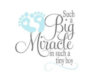 Big Miracle - Boy Vinyl Wall Decal, Such a big miracle in such a tiny boy vinyl lettering.
